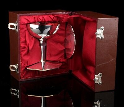 Vintage Solid-Silver Chalice in its Storing Case. Spain, Circa 1950