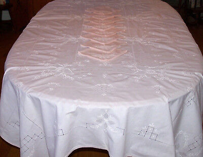 "Gorgeous Vintage Floral Embroidered Tablecloth, 97"", 12 Napkins, Soft Pink, 1950"