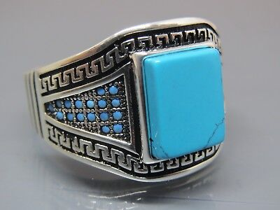 Turkish Handmade Jewelry 925 Sterling Silver Turquoise Stone Men's Ring Sz 11,5