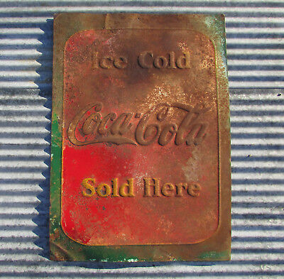 1930s ICE COLD COCA COLA SOLD HERE STEEL METAL SIGN ANTIQUE VINTAGE emboss store