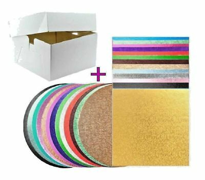 Round & Square Cake Board, Drum with Cake Box and Lid All Sizes And Colours