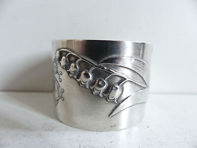 Antique French Art Nouveau Lily Of The Valley Sterling Silver 800 Napkin Ring