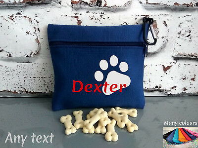 dog treat bag personalised with any name or text and paw logo easy to attach