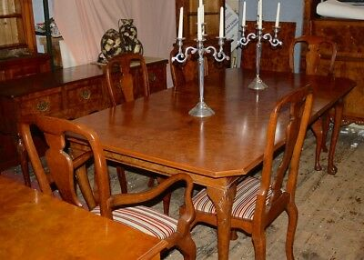 RARE STUNNING QUEEN ANNE STYLE BURR ELM TABLE & extension & 6 CHAIRS HUGE TABLE