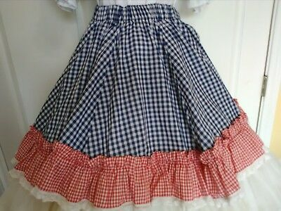 ladies women square dance dancing skirt red gingham blue checkered lace handmade