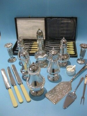 Very Nice Job Lot Antique & Vintage Silver Plated Cruet Sets & Sugar Shakers