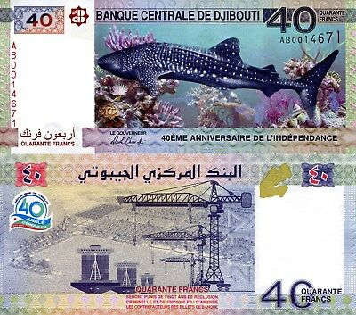 DJIBOUTI 40 Francs Banknote World Paper Money UNC Currency Pick p-New 2017 Shark