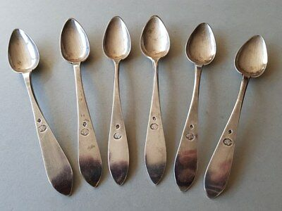 6 ANTIQUE & ORIGINAL OTTOMAN STERLING SILVER spoons WITH SULTAN TUGHRA