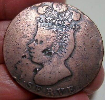 1788 (BARBADOS) PENNY LARGE (PINEAPPLE) ---CARIBBEAN SLAVE PENNY-- very rare--