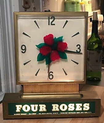 50s FOUR ROSES WHISKEY REVERSE ON GLASS DISPLAY LIGHTED CLOCK ALCOHOL BAR SIGN