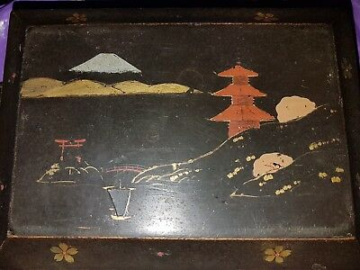 Antique Vintage Japanese Brown Black Lacquered  Jewellery ? Tea Box Gilded