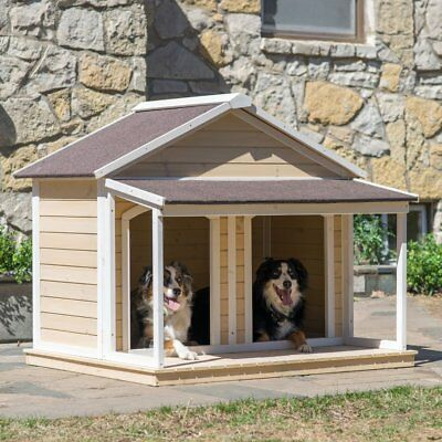 "52"" Outdoor Duplex Wood Dog House Covered Porch Antique White Solid Wooden Yard"