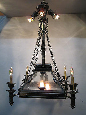 "Vintage Antique Hand Wrought Gothic A & C Gas Electric Chandelier Converted 39""L"