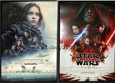 Orig Star Wars The Last Jedi + Rogue One .DS Movie Poster Int 27x40  Anakin Ray