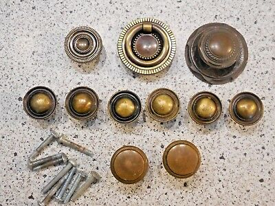 Lot of 11 Asst Vintage Antique Brass Metal Cabinet Knobs Drawer Pulls Hardware