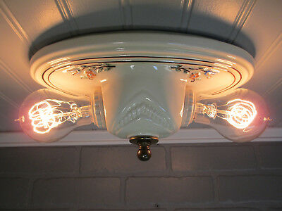 "Vintage Antique Art Deco Flush Mount Porcelain Two Light Ceiling Fixture 10"" L"