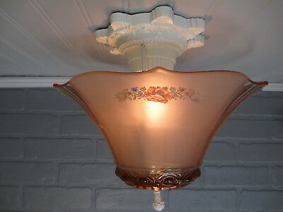 "Vintage Antique MOE BRIDGE Art Deco Ceiling Light Semi Flush Mount Pink 9 1/2"" L"