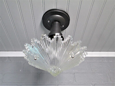 "Vintage Antique Art Deco Semi Flush Mount Cone Starburst Ceiling Light 11"" Drop"