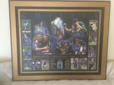 "CHELSEA FC PREMIERSHIP CHAMPIONS PRINT ON BOARD in FRAME 23"" x 19"" approx"