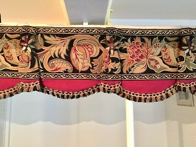 Antique Victorian curtain / Entrance Valance Floral Jacquard Woven tapestry 10'