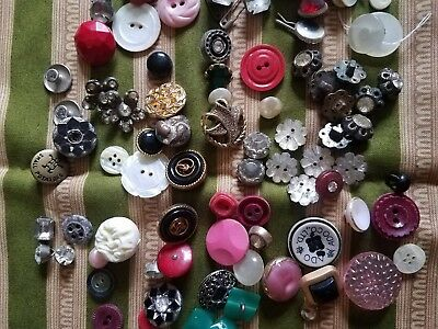 Lot of 98 Mixed Matching Vintage Metal Rhinestone MOP Celluloid Antique Buttons