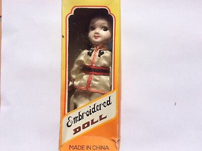 Vintage Chinese Embroidered Doll w/ Original Packaging China