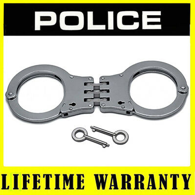 POLICE Handcuffs Professional Metal Heavy Duty Hinged Steel Double Lock Silver