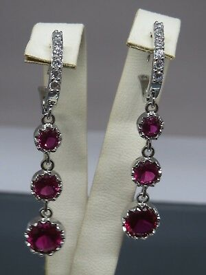 Turkish Handmade Jewelry 925 Sterling Silver Ruby Stone Ladies' Earrings
