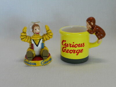 Curious George Collectibles Astronaut Snow Globe Figurine Ceramic Mug with Boxes