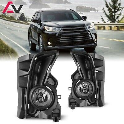 Winjet For Toyota Highlander 17-18 Clear Lens Pair OE Fog Light+Wiring+Switch