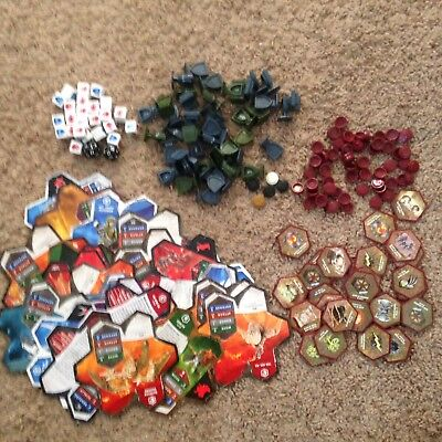 Heroscape Hero Scape Huge Parts Lot - Glyphs Army Cards Markers Dice