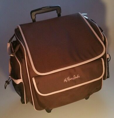 THE PAPER STUDIO Scrapbooking Rolling Bag Storage Case Crafting Brown w/ Pink
