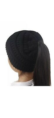 Childrens Kids Messy Bun Ponytail Knit Hat Beanie 3 Colors To Choose From
