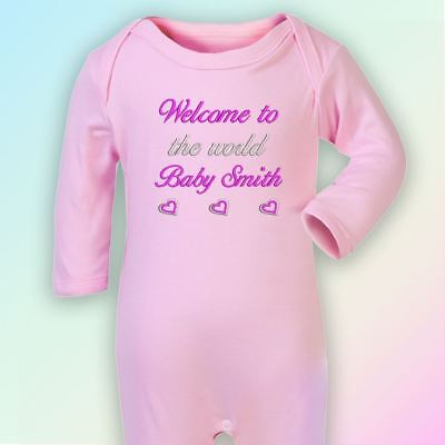 Welcome to the World Embroidered Baby Romper Babygrow Gift Personalised Baby