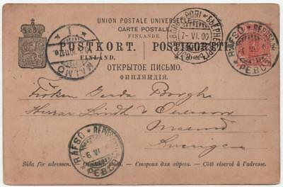 FINLAND: 1900 Prepaid Printed Postcard to Malmo, Sweden - with Cancels (13743)