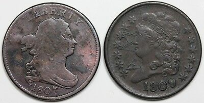 Pair of Half Cents: 1807 VG+ detail & 1809 VF-XF detail