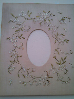 Antique Embroidered Picture Mat / Lovely !