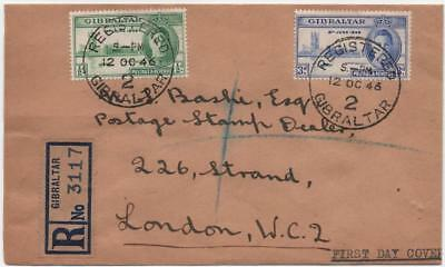 GIBRALTAR: 1946 Examples on Registered First Day Cover to London, Cancels(13907)