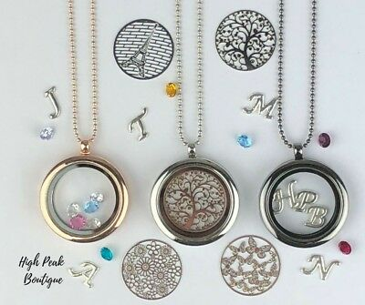 Memory Locket Necklace Floating Charms Letter Charms Plates & Birthstones 🇬🇧