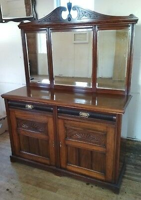 Victorian Mahogany Triple Mirror Back Sideboard Fabulous detail