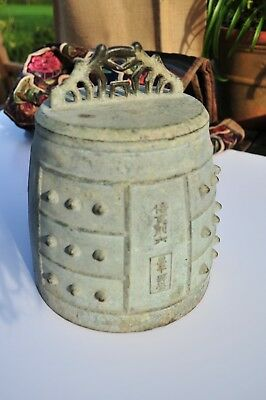 Very old large and heavy Chinese bronze 'Bo' bell with lovely patina