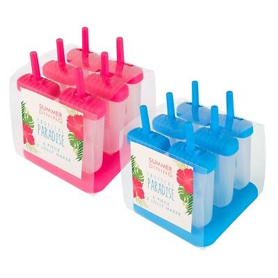 New Pack of 12 Bright & Colourful Kids Ice Lolly Makers By ITP 6X PINK & 6X BLUE