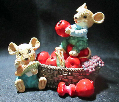 Mice Mouse Eating Apples Corn Sitting In Basket Resin Figurine