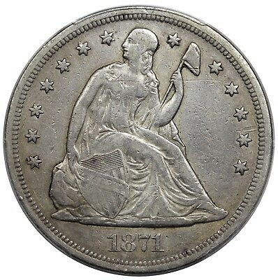 1871 Seated Liberty Dollar, PCGS VF detail