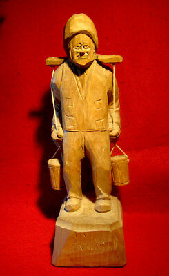 OLD MAN w/BUCKETS WOOD CARVING SIGNED by ARTIST BOURGAULT ST-JEAN-PORT-JOLI