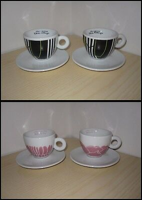 CAFFE' ILLY 4 Tazze Tazzine Cups Coffee Cappuccino TOBIAS REHBERGER MICHAEL LIN