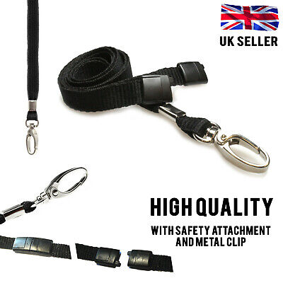 10x BLACK LANYARD NECK STRAP STRONG METAL CLIP FOR ID BADGE CARD PASS HOLDER