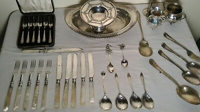 silver plated cutlery mother of pearl handles , plus various other items