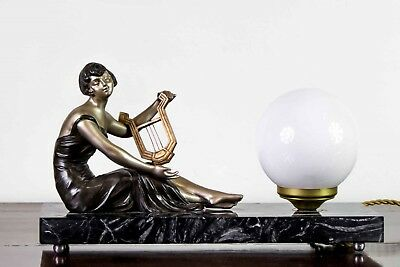 1930 Art Deco Lamp With Statue Sculpture By Geo Maxim