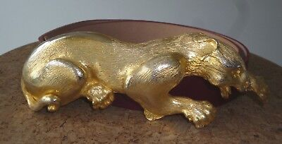 STUNNING CHRISTOPHER ROSS BELT BUCKLE PANTHER / LEOPARD / CAT GOLD 21cm 1985